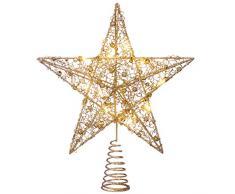WeRChristmas Pre-Lit Sprinky luci LED Albero di Natale a Forma di Stella, Oro, 31Â cm