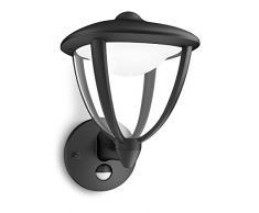 Philips Robin Lampada da Parete LED Up con Sensore di movimento per Esterni Giardino, Nero