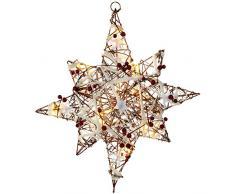 WeRChristmas - Stella di Natale illuminata, in rattan, 48 cm, con decorazione di neve e bacche, multicolore