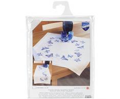 Vervaco Tovaglia ricamata Kit punto croce fiori e farfalle pattern-blu