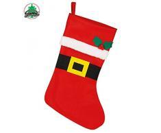 Guirma Calza Natalizia da Appendere per Regali e Dolci, Babbo Natale, Rosso, 44 cm