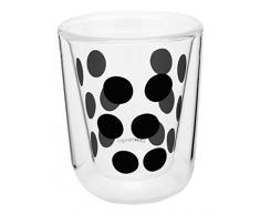 ZAK Designs 0439-4716 0550-1400 E, Bicchiere da caffè a Doppia Parete in Vetro, 19 cl, Colore: Nero