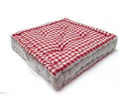 Cuscino da Pavimento in Cotone Vichy Rosso