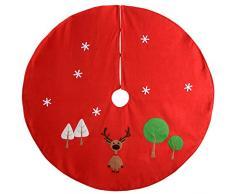 WeRChristmas-Copribase per albero di Natale, a forma di renna, in tessuto, colore: rosso, multicolore, 120 cm