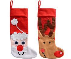 WeRChristmas-Calza di Natale con pupazzo di neve e renne, decorazione, tessuto, colore: multicolore, 48 cm, confezione da 2