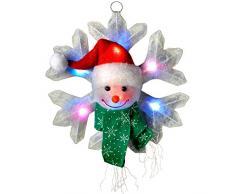 Wer Natale Grande formato 30 centimetri colore forma mutevole fiocco di neve con brillante 8 luce pupazzo di neve per la decorazione di Natale a LED