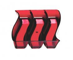 Outlook Design Wave Piattino per Servire L Aperitivo, Ciotola Porta Salatini, Rosso, Metacrilato, 16 x 19 cm