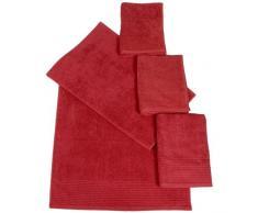 Dyckhoff 410936505 - Set da Bagno con 2 Asciugamani (50 x 100 cm) e 2 Asciugamani Doccia (70 x 140 cm), Colore: Rosso Ciliegia