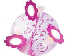 Elobra 131510, Lampada a Soffitto per Bambini, Fantasia Legno Vivaio Rondell, Rosa
