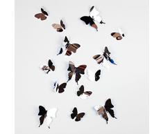 Walplus Adesivo da Parete, Motivo Farfalle 3D Effetto Specchio, PVC, Argento, 50 x 70 cm