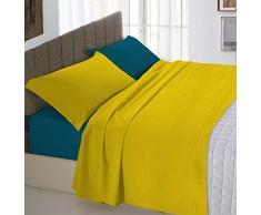 Italian Bed Linen Natural Color Completo Letto Double Face, 100% Cotone, Ocra/Verde Petrolio, Matrimoniale