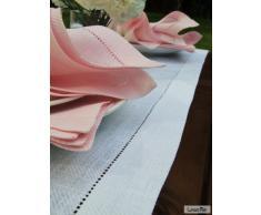 LinenMe 1-Pezzo 40 x 200 cm runner da tavolo lino Emilia, bianco