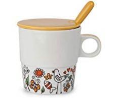 EGAN Tea for Two, TISANIERA con cucchiaino e Coperchio in_Porcellana_ Tazza per la Colazione 330 ml_Nuova Collezione_ Idea Regalo Originale (Arancio)