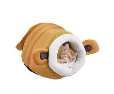 Relaxdays Cuccia per Gatti, Soffice Cuccetta Chiusa per Gatti & Cagnolini, Simpatico Designa Leone, Cuscino, Marrone, Poliestere, 1 Pz