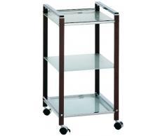 Kela 21425 Fina - Carrello da cucina in metallo, rifiniture in acacia, con 3 ripiani in vetro di sicurezza