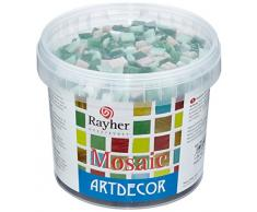 Rayher 1453008, Set tessere per mosaico, tasselli in vetro, piastrelle ideali per decorazioni e fai da te, 1x1 cm, ca. 1300 pz, sfumature di verde.