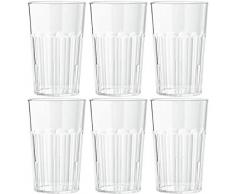 Viva Haushaltswaren - 6 Bicchieri da longdrink, in policarbonato Trasparente, Circa 400 ml, impilabili