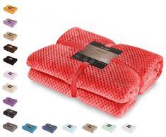 DecoKing- Coperta in microfibra, pile morbido, Tessuto, 70 x 150 cm, Rosso