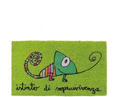 laroom Zerbino Motivo Istinto di Sopravvivenza, Jute And Base Antiscivolo, Verde, 40Â x 70Â x 1.8Â cm