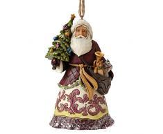 Enesco 4053699 HWC Sospensione Babbo Natale con Albero, PVC, Multicolore, 8x10x12.5 cm