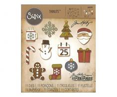 Sizzix Fustella Mini Addobbi di Natale di Tim Holtz, Acciaio, Multicolore, 19.1 x 14.4 x 0.4 cm