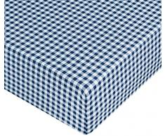 AmazonBasics Microfiber Fitted Sheet, Gingham Plaid 140 x 200 x 30 cm