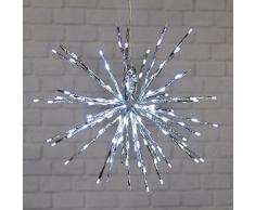 XMASKING TWIGball Argento, diam. 45 cm, 160 LED Bianco Freddo, Effetto Flashing, Oggetti Luminosi, Decorazione di Natale, luci di Natale