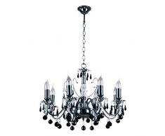 Elegante classico lampadario candela 8Â bracci nickelfarbiges metallo Sfere di Cristallo Nero in Vetro Trasparente Alto 107Â cm diametro 60Â cm soggiorno camera da letto grelles direktes luce esclud. 8Â * 60Â W E14