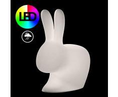 Qeeboo Rabbit Lampada da Esterni LED, Bianco, 68.8x39.5x80 cm
