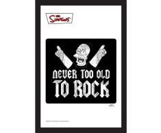 Empire 538338 - Quadro I Simpsons, Never Too Old To Rock, su vetro stampato con cornice in plastica effetto legno, 20 x 30 cm