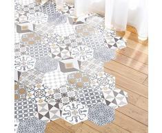 Ambiance Adesivo pavimento piastrelle di cemento azulejos con laminato di protezione in plastica, piastrelle esagonali, resistente allacqua, 40 x 90 cm, 10 pezzi