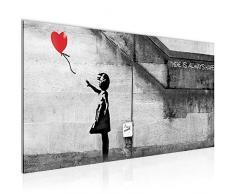 Quadro Banksy Ballon Girl Street Art 100 x 40 cm - XXL Immagini Murale Stampa su Tela Decorazione da Parete Pronte per lapplicazione - 301612a