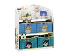 Relaxdays 10022753 Scaffale per Bambini con Disegno Animali, Porta-Giochi, Tessuto e Legno MDF, HxLxP: 99 x 87 x 29,5 cm