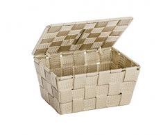 Wenko Adria - Cestino portaoggetti con coperchio, in polipropilene, 19 x 10 x 14 cm, Plastica, beige, 19 x 10 x 14 cm