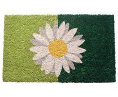 Entryways - Zerbino in fibra di cocco, con retro antiscivolo in PVC, 40 X 60 cm, motivo: margherita, colore: verde