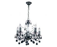 Elegante lampadario classico, con candele, in metallo nichelato, sfere di vetro di cristallo, nero, 105 centimetri di altezza, diametro 45 centimetri, per soggiorno, camera da letto, luce diretta luminosa, 5 lampadine da 60W E14