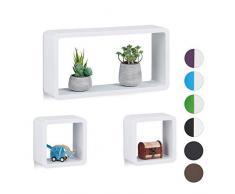 Relaxdays Mensole a Cubo, Set da 3 Ripiani, Scaffale Sospeso Muro, Design Moderno, in Orizzontale & Verticale, in Bianco, Legno MDF, Pz