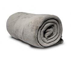 Soleil docre 510048 Coperta in pile, microfibra, colore: grigio chiaro, 180 x 220 cm