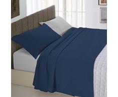 Italian Bed Linen Natural Color Completo Letto Double Face, 100% Cotone, Blu Scuro/Grigio Chiaro, Matrimoniale
