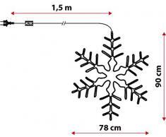 Fiocco di neve 78 x 90 cm in tubo luminoso, 288 led bianco freddo, effetto flashing, decorazioni natalizie, fiocco di neve luminoso, addobbi di Natale