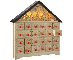 WeRChristmasDecorazione natalizia, casetta in legno con presepe retroilluminato e calendario dellAvvento, 36cm