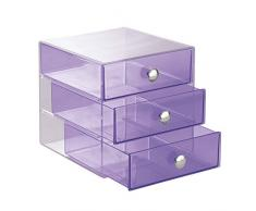 InterDesign Drawers | Contenitore a scomparti con 3 cassetti | Mini cassettiera Portagioielli e make-up | pratico Organizer ufficio | Plastica trasparente/viola
