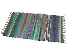 JVL-Zerbino, 40 x 60 cm, Tappeto Fatto a Mano in Materiale Riciclato, Colore: Multicolore