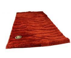 Gözze - Tappetino per il bagno, motivo ondulato, Microfibra di poliestere, rosso, 60 x 100 cm