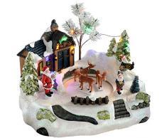 WeRChristmas-animata Santas House con cervo, decorazione natalizia, Multicolore, 28cm