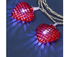 Catena a Batteria 1,35 m, 10 Cuori Metallo Rosso Ø 40 mm, LED Bianco Freddo, Uso Interno, Decorazione per San Valentino