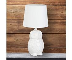Relaxdays 10022846 Lampada da Tavolo Gufo, Design Lume da Comodino con Paralume in Stoffa, da Lettura Ceramica Alta 40 cm Bianco