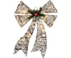 WeRChristmas - Fiocco di Natale con luci LED bianco caldo, in rattan, 48 cm, con decorazione di neve e stelle, multicolore