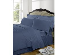Highams Luxurious Plain Dye Lenzuolo matrimoniale con angoli, in cotone egiziano, colore: blu acciaio, King