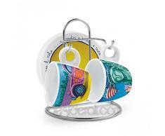Icalisti PCS02/0215 Set Tazze Caffe, Modello Liberta/Diane e Rack, Porcellana, Multicolore, 5 unità